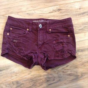 American Eagle Distress Burgundy Shorty shorts 6
